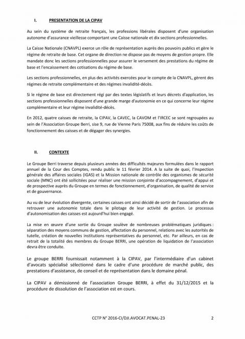 Appel d offre avocat penal 2
