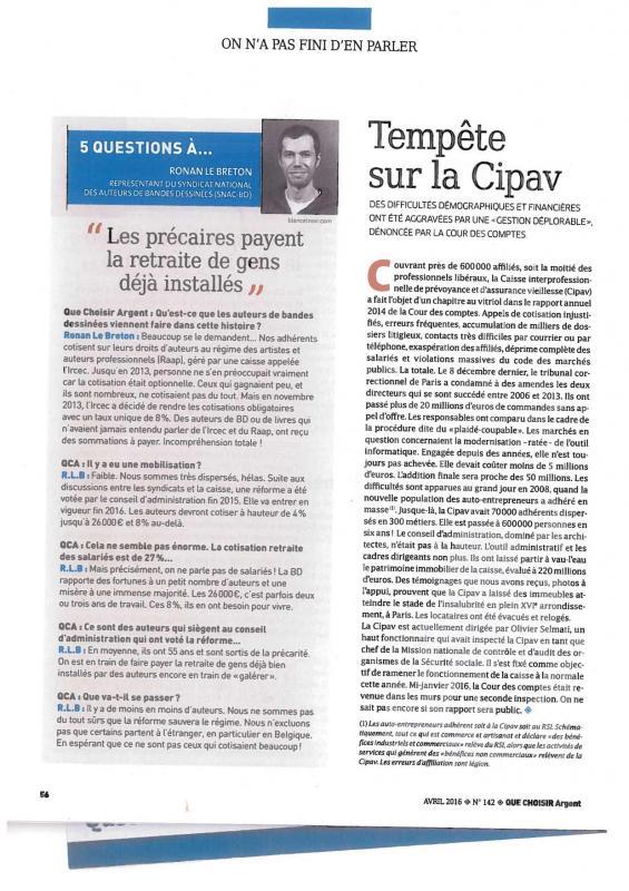 Article que choisir cipav avr2016