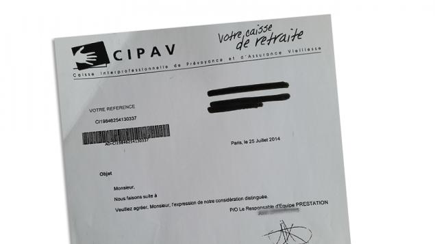 Cipav courrier caisse retraite devenue cauchemar