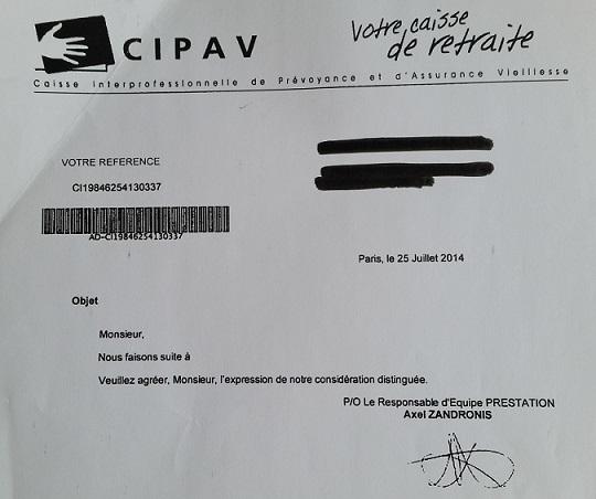 Cipav lettre
