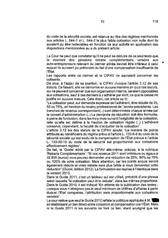 Jugement cour de cassation minoration illegale des points retraite des adherents auto entrepreneurs de la cipav page 010
