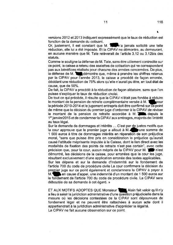Jugement cour de cassation minoration illegale des points retraite des adherents auto entrepreneurs de la cipav page 011