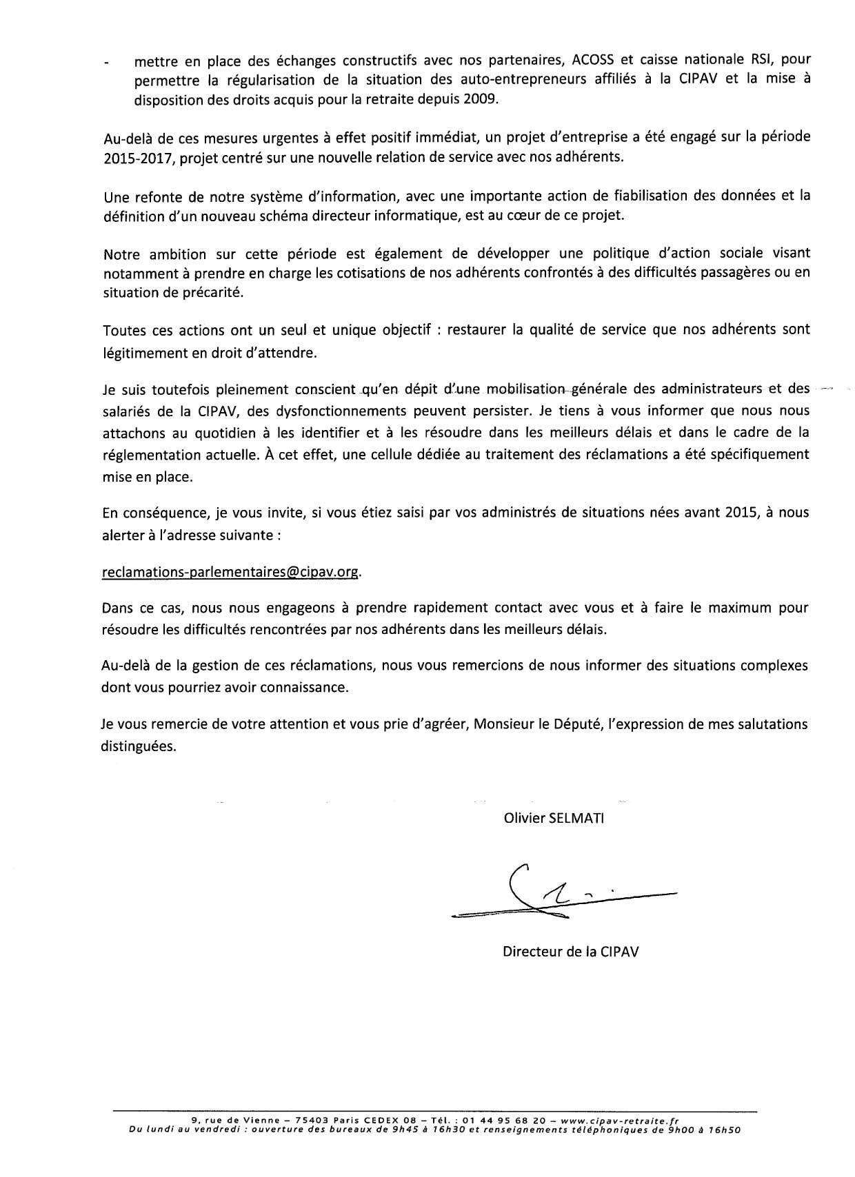 lettre du directeur de la cipav aux d u00e9put u00e9s et s u00e9nateurs